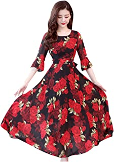Women O-Neck Half Sleeve Long Dress, Ladies Floral Print Fashion Casual A-line Dress