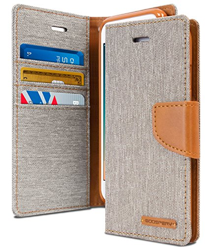 Goospery Canvas Wallet for Apple iPhone 8 Case (2017) iPhone 7 Case (2016) Denim Stand Flip Cover (Gray) IP7-CAN-GRY