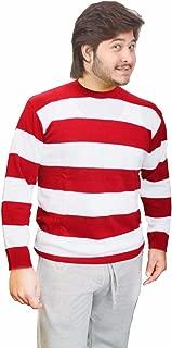 GirlzWalk Men's Stripe Knitted Jumpers Fancy Dennis Crew Neck Red Black White Green Grey Top