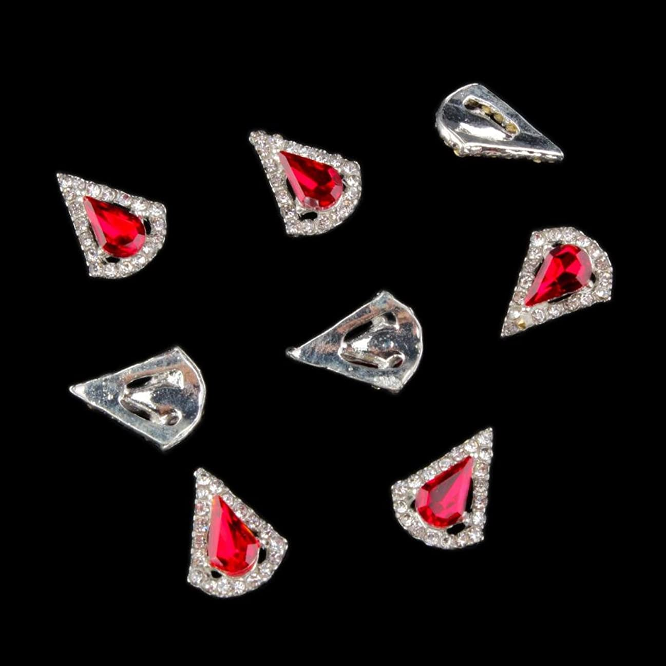 正しく白い不安定なSM SunniMix 10本入り ネイルステッカー 3D ネイルアート ステッカー ネイル 宝石 携帯電話装飾 DIY装飾 - 赤2