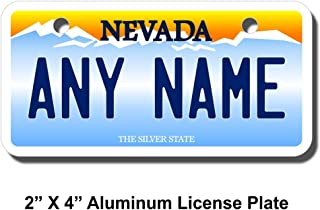 TEAMLOGO Personalized Nevada License Plate - Sizes for Kid's Bikes, Cars, Trucks, Cart, Key Rings Version 1