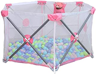 Adceer Baby Fence Play Area Breathable Waterproof Net Easy Carry Foldable Hexagonal Baby Game  Color Pink