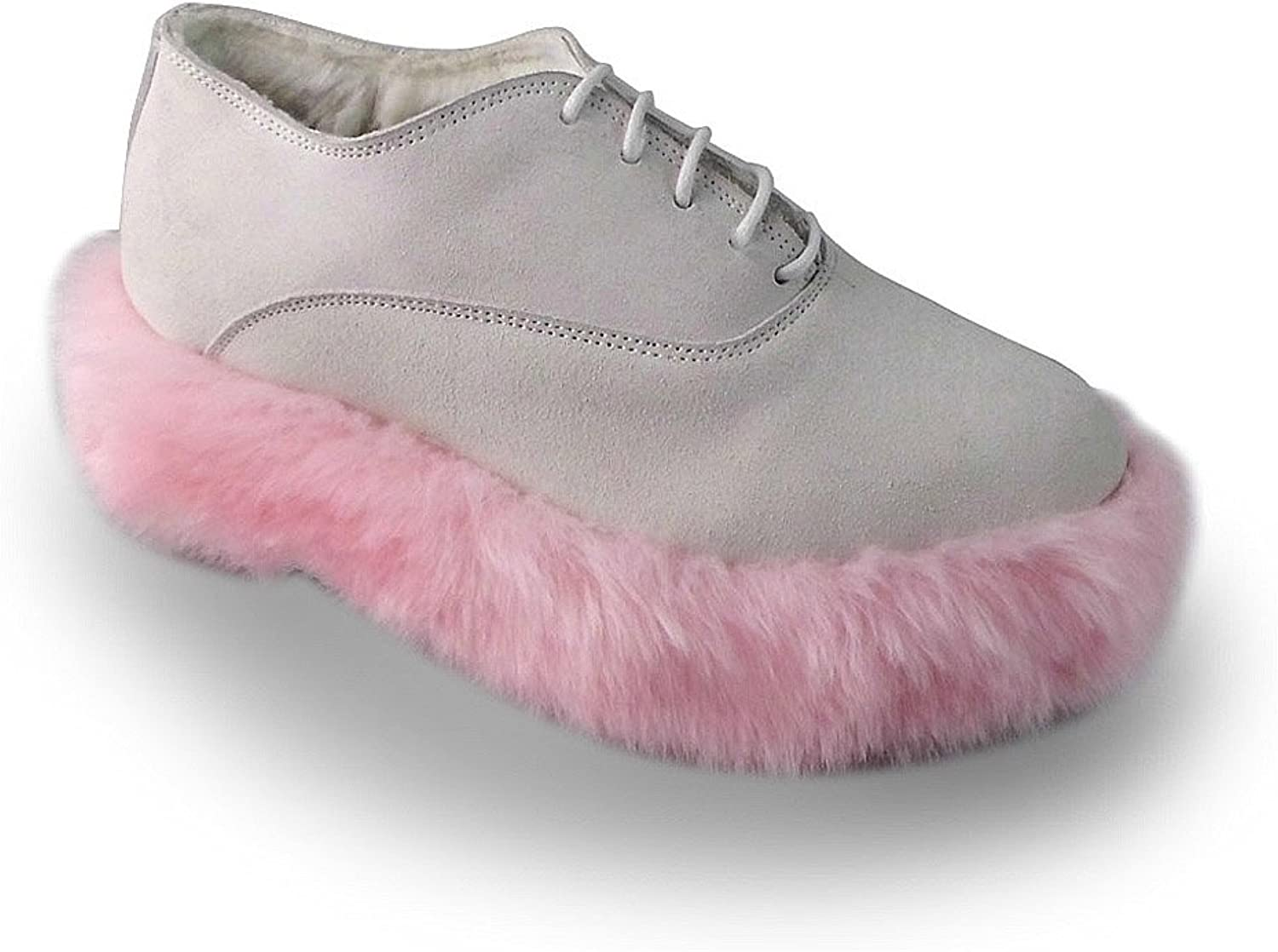 Antaina Mid Heel White PU Pink Hairy Soles Personality Lolita Platform shoes