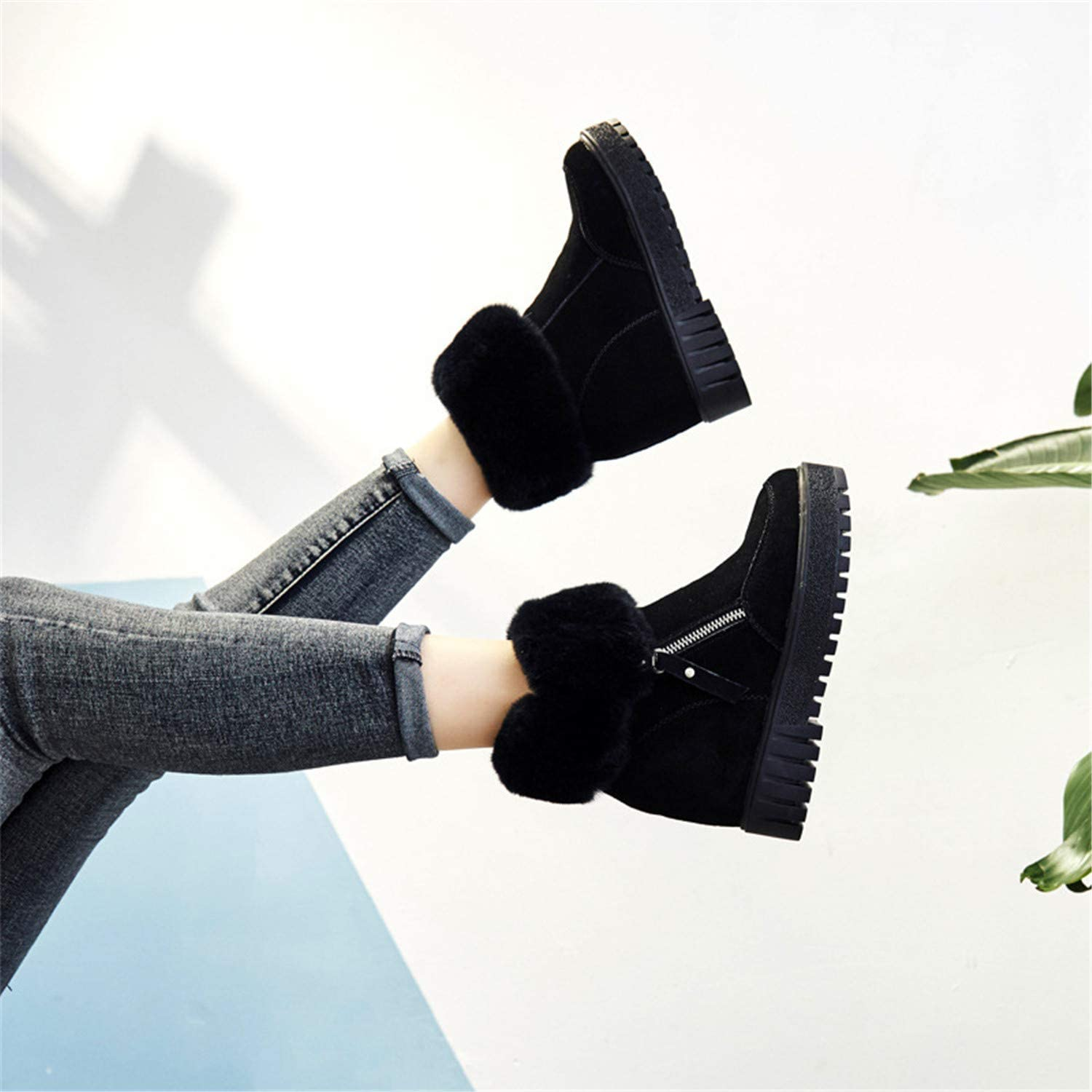 Women's Ankle Boots Genuine Leather Warm Plush Winter shoes Snow Boots Women Fur Height Increasing
