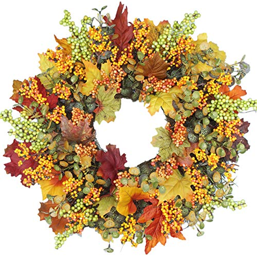 BHSHUXI Artificial Berry Fall Wreath,Autumn Door Wreath,Pine Cone and Maple Leaf Wreath with Berry for Front Door, Wall, Home Decoration