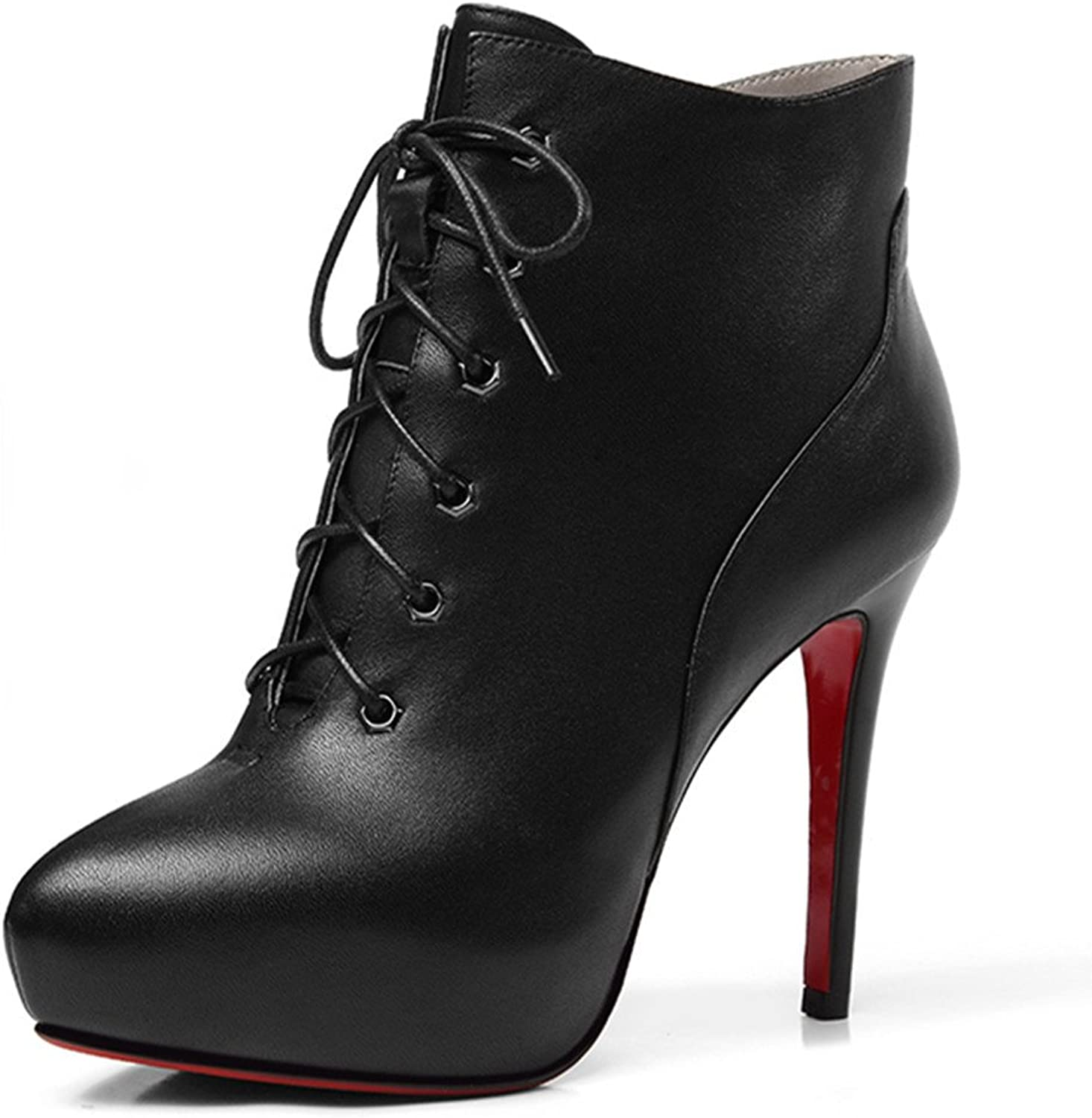 Nine Seven Genuine Leather Women's Almond Toe Sexy Super High Stiletto Heel Platform Lace Up Handmade Ankle Boot