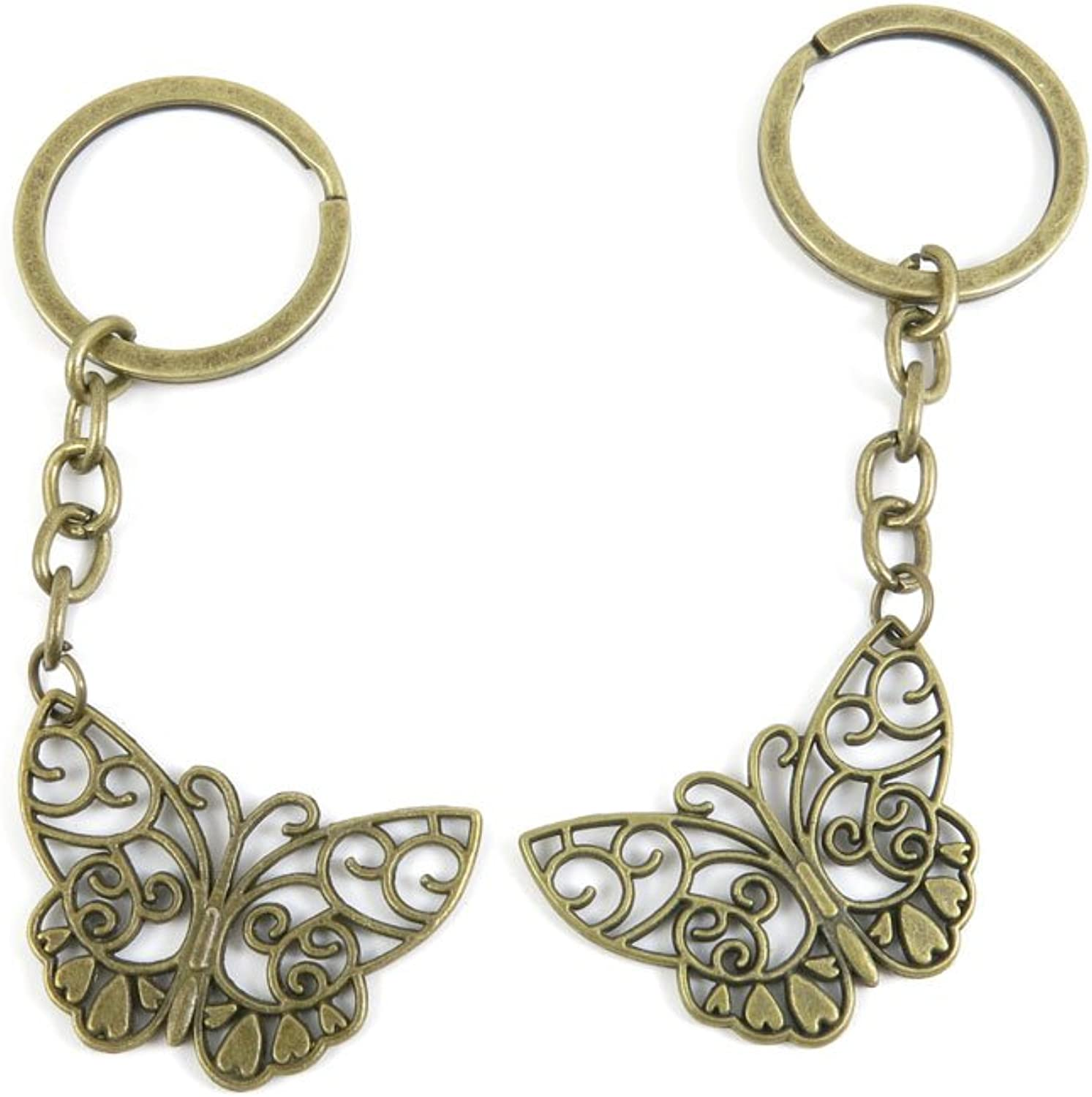 80 PCS Keyring Car Door Key Ring Tag Chain Keychain Wholesale Suppliers Charms Handmade I0LC9 Butterfly