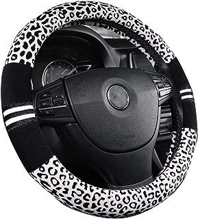 XiXiHao Soft Leopard Car Warm Steering Wheel Cover for Women in Winter Black White