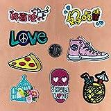 iron on patch,parches para ropa,Aplique de bordado, utilizado para decorar ropa para reparar agujeros en la ropa, zapatos ingleses pizza 9 piezas