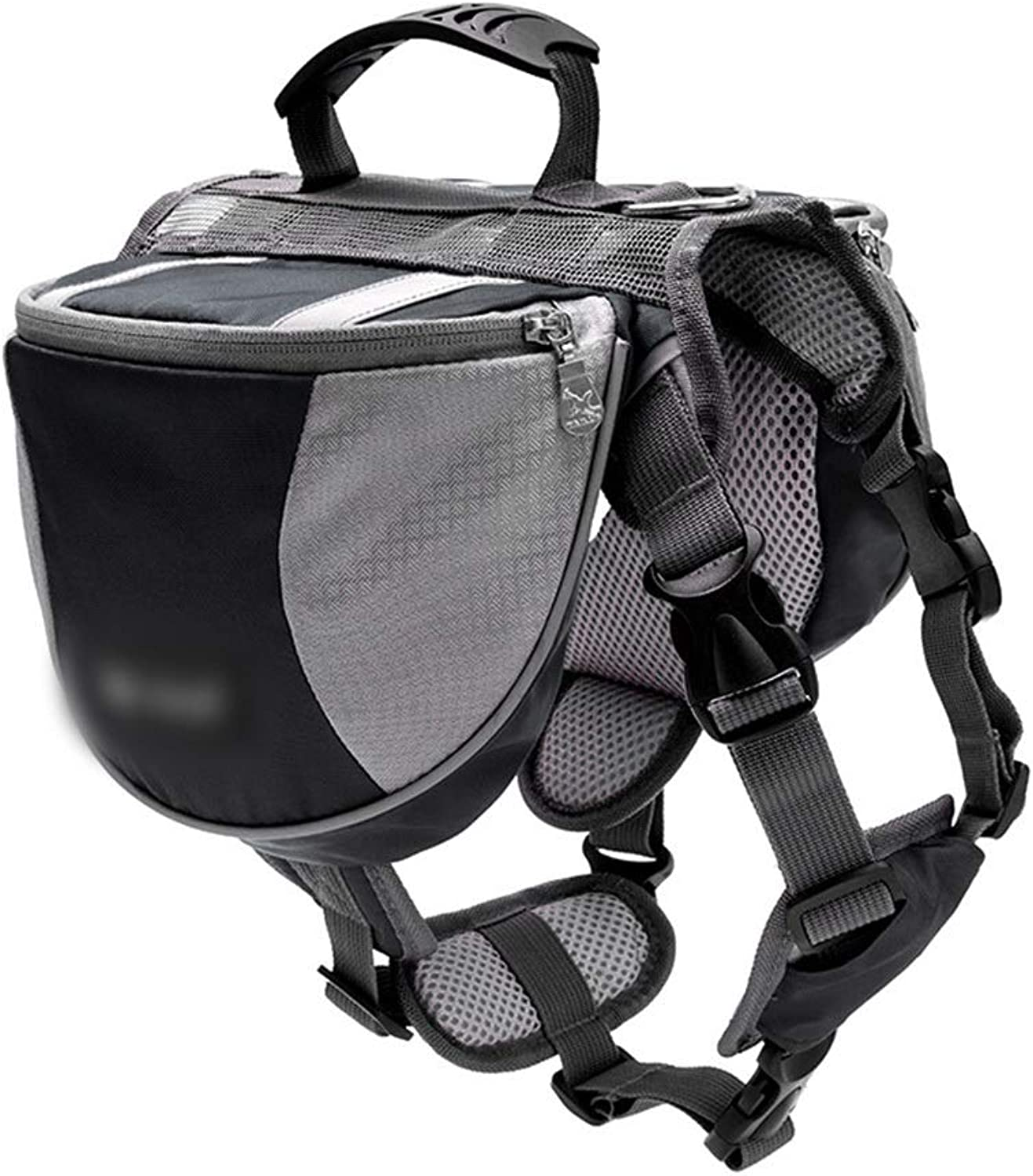 HOUYAZHAN Pet Bag Dog Fashion With Reflective Strips Double Backpack (color   Black, Size   S)