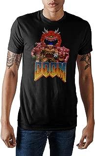 Doom Vintage Characters Logo Men's Black Crew Neck Print T-shirt