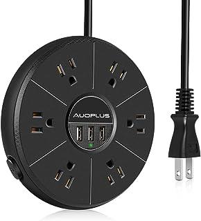 AUOPLUS 電源タップ コンセント 6個AC口 3USBポート 卓上タップ 雷ガード 一括スイッチ oaタップ テーブルタップ 延長コード 2m マルチタップ たこ足配線 (ブラック)