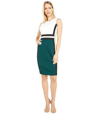 Calvin Klein Color-Block Sheath Dress (Cream Malachite Multi) Women