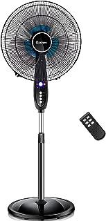 COSTWAY Pedestal Fan, 16-Inch Adjustable Height Fan, 3-Speed Digital Control, Oscillating Pedestal Fan w/Timer, LCD Display, Double Blades, Remote Control (16-Inch)