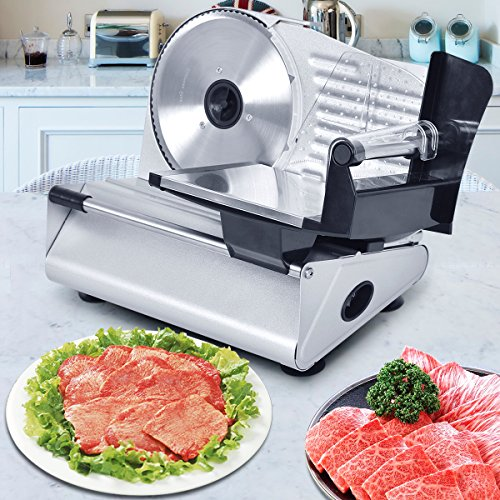 "Tangkula Electric Slicer 7.5"" Commercial Meat Slicer Machine for Home Kitchen Restaurant Heavy Duty Chrome Plated Stainless Professional Semi-Auto Kitchen Deli Cheese Food Vegetable Slicer Cutter"
