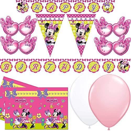 Minnie Mouse, partyset, 72-delig, voor kinderverjaardag, met tafelkleed, kaarsen, wimpelketting, masker, Happy Birthday banner, luchtballonnen en slingers, roze decoratie