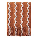 BOURINA Fluffy Chenille Knitted Fringe Throw Blanket Lightweight Soft Cozy for Bed Sofa Chair Throw Blankets, Orange 50' x 60'