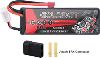 GOLDBAT 2S LiPo Battery 6200mAh 7.4V 80C RC Battery Hard Case with Deans Plug and TRX Connector for RC Evader BX Car RC Truck RC Truggy RC Heli Airplane Drone FPV Racing