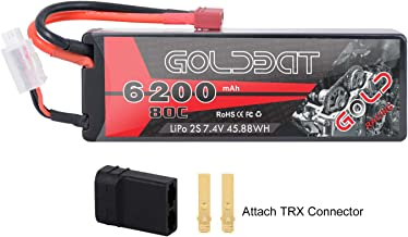 GOLDBAT 2S 6200mAh 7.4V 80C LiPo RC Battery Hard Case with Deans Plug and TRX Connector for RC Evader BX Car RC Truck RC Truggy RC Heli Airplane Drone FPV Racing … (6200-2S-80C)