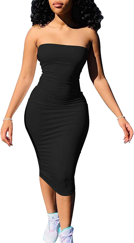 cailami Women's Bodycon Sleeveless Tube Top Sexy Strapless Midi Club Dresses