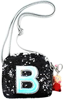 Kid Girls Glitter Sequin Crossbody Purse Holographic B Letter Shoulder Bag with Cute Keychain