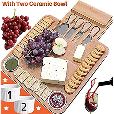Fancy gifts for Mom, Fathers Day, Women, Wedding, Housewarming, Birthday, Bamboo Cheese Board w/Cutlery Set, Wood Charcuterie Platter & Meat Server, 4 Stainless Steel Knife, 2 Bowl, Slide-Out Drawer