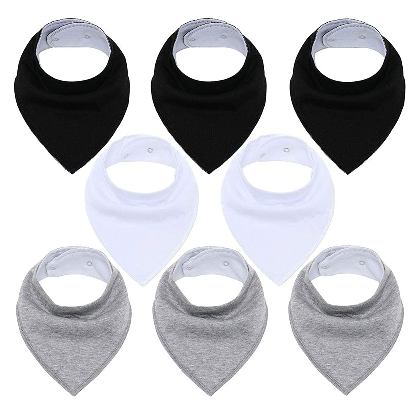 Egmao Baby Bandana Drool Bibs Unisex for Teething and Drooling - 8 Pack with Adjustable Snap Super Soft Absorbent Cotton Bibs Toddler Baby Shower Gift for Boys & Girls