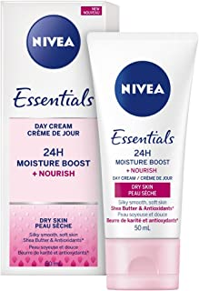 NIVEA Essentials 24h Moisture Boost + Nourish Day Cream with SPF 15 for Dry Skin (50 mL), 24H Skin Moisturizer with Sun Pr...