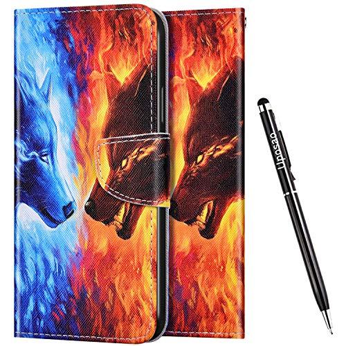 Uposao Kompatibel mit Huawei P40 Lite Hülle Flip Schutzhülle Leder Handyhülle 3D Bunt Muster Leder Hülle Leder Tasche Bookstyle Case Klapphülle Magnet Kartenfächer,Wolf