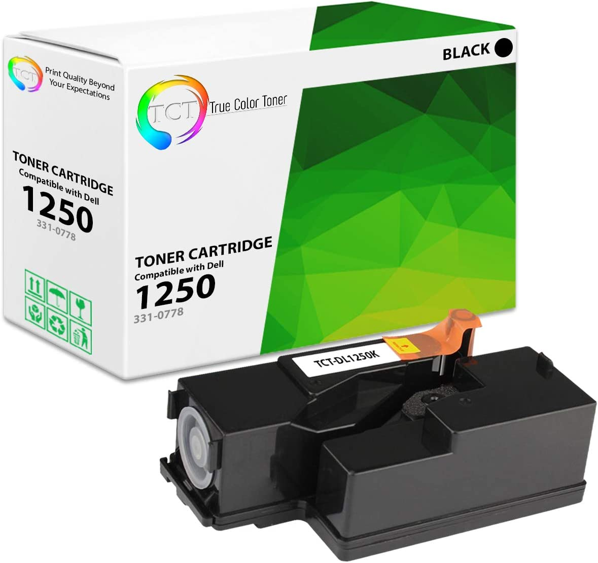 TCT Premium Compatible Toner Cartridge Replacement for Dell 331-0778 Black Works with Dell 1250 1350CNW 1355CN 1355CNW C1760NW C1765NF C1765NFW Printers (2,000 Pages)