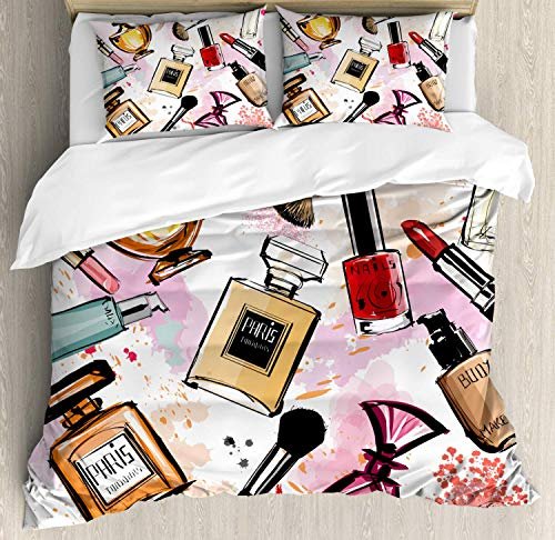 XOXUN Mode Bettbezug Set, Kosmetik und Make-up Themenmuster mit Parfüm Lippenstift Nagellack Pinsel Modernes, dekoratives 3-teiliges Bettwäscheset mit 2 Kissenbezügen, Korallenweiß