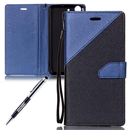 JAWSEU Compatibile con Huawei Y6 II Custodia Cover Portafoglio Pelle, Moda Matte PU Leather Flip Cover Magnetica Supporto[Shock-Absorption] Wallet Case Protettiva Bumper Custodia