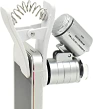 60x Zoom Microscope Magnifier Clip-Type Loupe with LED & UV Lights,Mini Educational Microscope Toy for kids,Clip-on Micro Lens for Universal Smartphones, Universal Clamp for Mobile Phone, IPad