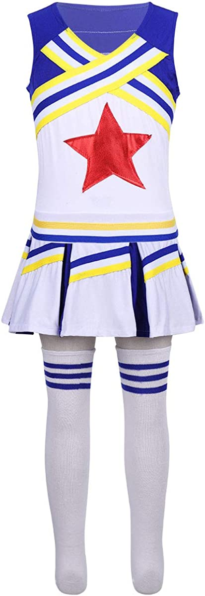 easyforever Kids Girls Cheerleading Uniform Shiny Daily bargain sale Outfit 4 years warranty Stars H
