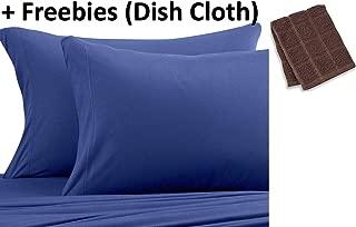 Pure Beech Jersey Knit Modal Queen Sheet Set in Navy Blue Plus Freebies (Dish Cloth)