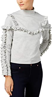 Womens Mock Neck Ruffled Pullover Top