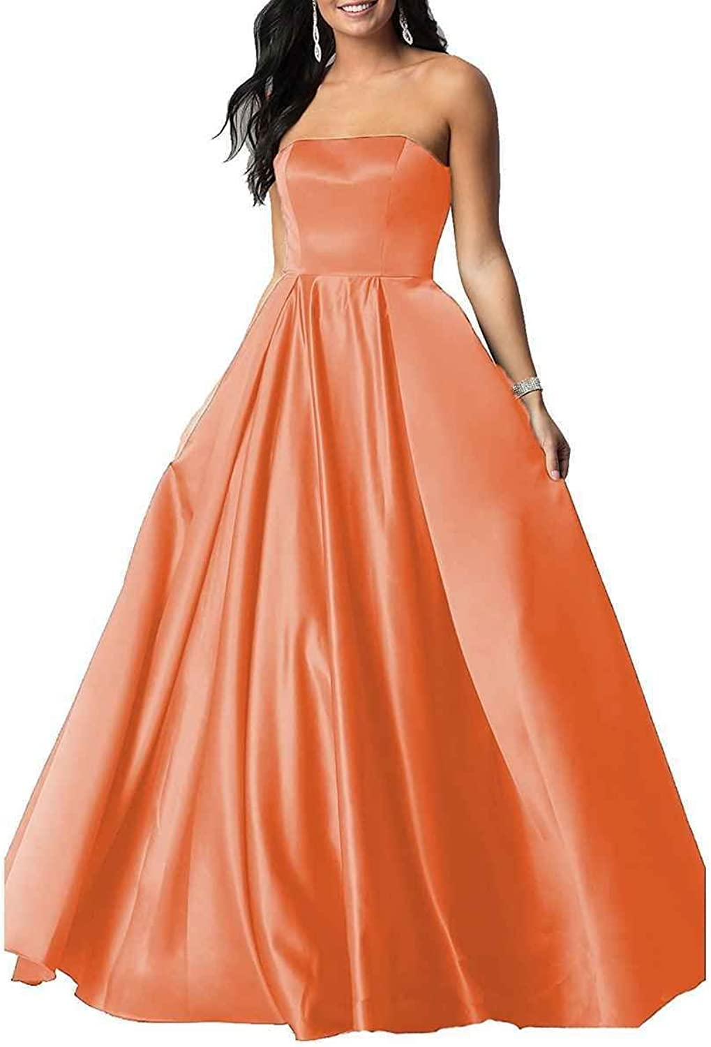 LastBridal Women A Line Satin Strapless Prom Dresses 2018 Long Formal Evening Party Gowns LB0099