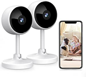 Indoor Security Camera, Crzwok 1080P Home WiFi Surveillance IP Camera with Night Vision, 2-Way Audio, Human Motion Detection for Pet/Elder/Baby Monitor, Worked with Alexa - 2 Pack