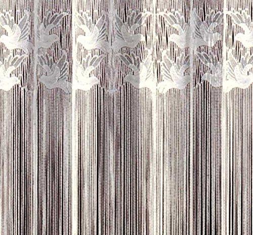 Fashion&Joy - Fadengardine Fadenvorhang mit Kräuselband & Stangendurchzug - HxB 150x300 cm mit Oberbordüre Motiv Vögel - Fadenstore rein weiß Gardine Vorhang Typ17