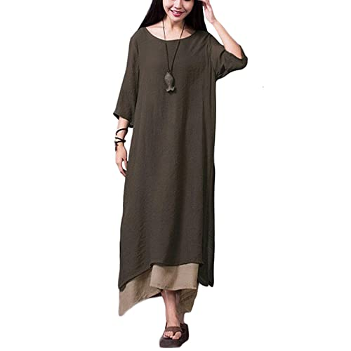 baa7c37b7a Romacci Women Vintage Dress Split Irregular Hem Casual Loose Boho Long Maxi  Dresses Orange Army