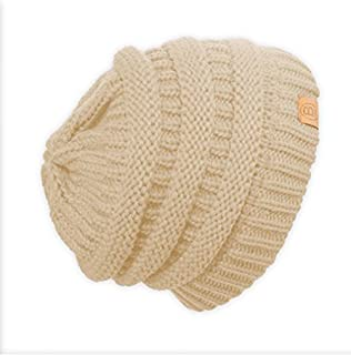 Basico Unisex Adult Warm Chunky Soft Stretch Cable Knit Beanie Cap Hat (101 Ivory)