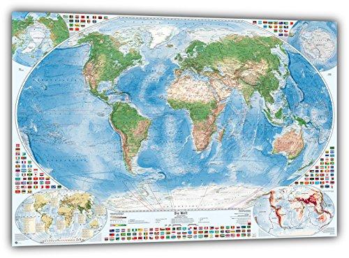 Satellitenbild-Weltkarte mit 4 Nebenkarten, 100x70 cm, deutsch