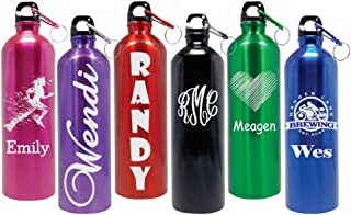 Personalized 25oz Stainless Steel Water Bottle Laser Engraved. 6 Colors FREE CLIP!