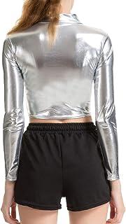 WEIMEITE Blusa Manga Larga Cuero Metalizada Wetlook Top Clubwear