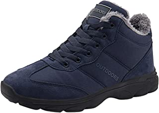 Aubbly Men's Air Cushion Plus Velvet Warm Shoes Running Athletic Classic Comfort Non Slip Casual High Flats Sneakers