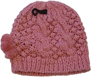 No Boundaries Womens Pink Knit Winter Pom Pom Hat Stocking Cap Beanie