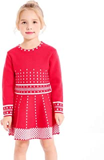 SMILING PINKER Girls Knit Sweater Dress Argyle Crewneck Long Sleeve Winter Party Dress