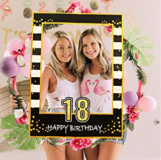 LaVenty Black Gold 18th Birthday Party Photo Booth Props 18th Birthday Photo Frame Birthday Photo Frame