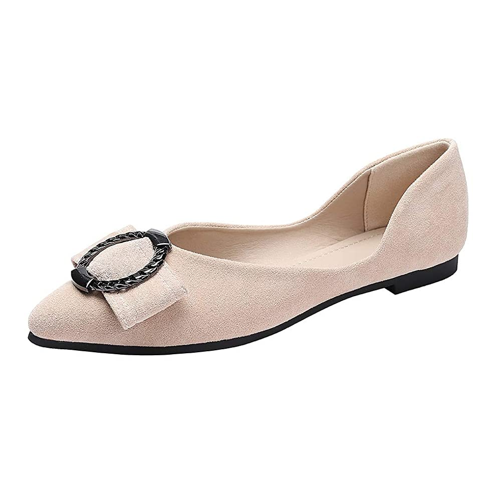 Wollanlily Classic Pointy Toe Ballet Flats Slip On Suede Casual Flat Dress Shoes