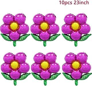 ZOOYOO 23 Inch Purple Beautiful Flower Shape Foil Mylar Balloons,Pentagram Balloon Birthday Party & Wedding Decoration 10pcs